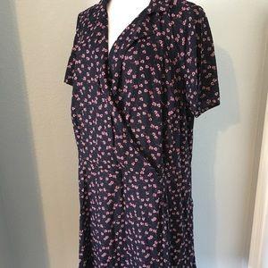 Modcloth Women's Navy Print SS Plus Size Dress